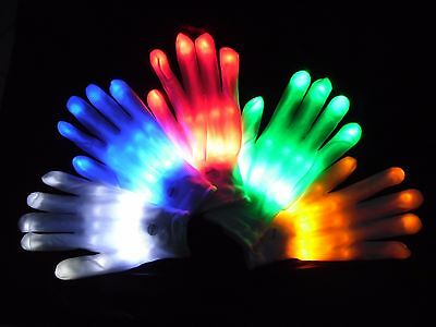 LED Glow Lined Gloves Xmas Fancy Dress Cycle School Walk Run Rave Party Concert