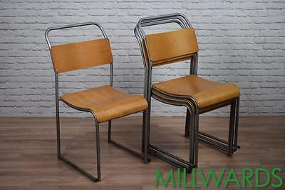 Vintage Industrial Silver Frame Stacking Stackable Cafe Bar Chairs 20 AVAILABLE