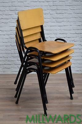 Vintage Industrial School Stacking Stackable Dining Cafe Bar Chairs 38 AVAILABLE