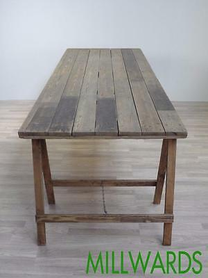Large 8ft Vintage Industrial Pine Trestle Dining Table Cafe Bar