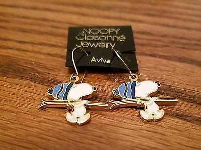 Vintage Aviva Snoopy In Blue Hat Ski Earrings