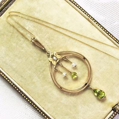 Antique 9ct GOLD Peridot Pearl Edwardian Fine Articulated Natural Necklace