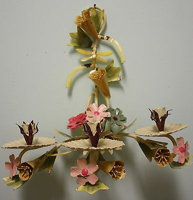 Two (Pair) Vintage Shabby Chic Italian (?) Painted Tole Candle Holder Sconces