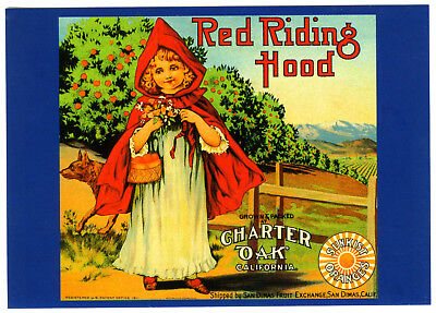 Little RED RIDING HOOD~HISTORICAL FRUIT CRATE LABEL LITHO ART~NEW 1979 POSTCARD