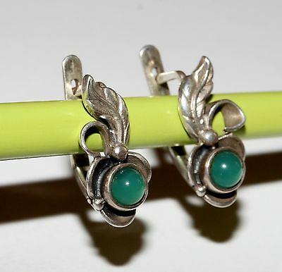 GORGEOUS Chrysoprase Vintage EARRINGS Silver 925 USSR Soviet awesome!
