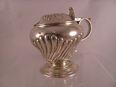 Antique .925 Sterling Silver Mustard Pot English London 1890 Shell Swirl 3 in