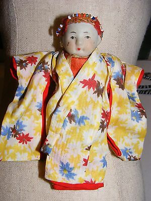 """Antique Bisque Jointed 4"""" Oriental Baby BOY DOLL in Kimono Beads Miniature Small"""