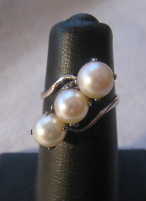 Antique Chinese Export Silver Triple Cultured Freshwater Pearl Ring  SZ 7