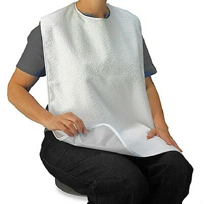3 Disability Adult Terry Bibs W/ Easy Neck Closures Premium Grade 17'' X 29''