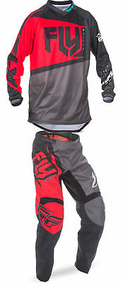 Fly Racing Red/Black/Grey Mens & Youth F-16 Dirt Bike Jersey & Pant Kit MX 2017
