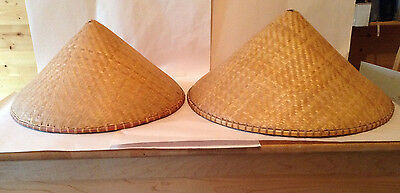 CHINESE ORIENTAL Rice Hat CONE GARDEN FISHING SUN BAMBOO ADULT RICE Vintage