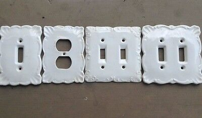 Set of 4 Vintage White Porcelain Ceramic Wall Plate Outlet Covers