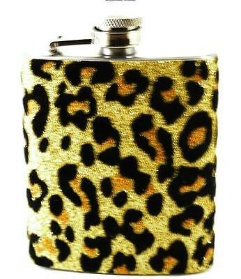 New Leopard Print Hip Flask - Ideal Gift - Stainless Steel 3oz