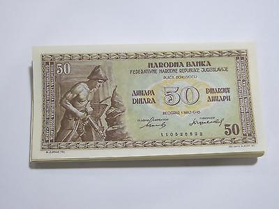 National Bank 1946 Yugoslavia 50 Dinara Gem Unc Old Banknote Collection Lot