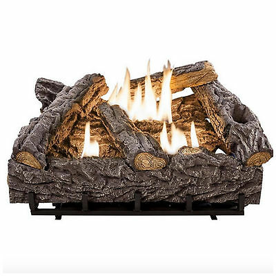 Emberglow Vent Free Natural Propane Gas Dual Fuel Fireplace Logs Fire Log Kit