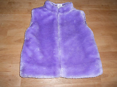 Girls, Lilac/Silver, Faux Fur, Zipped, Pocketed, Gilet. Age 5-6yrs