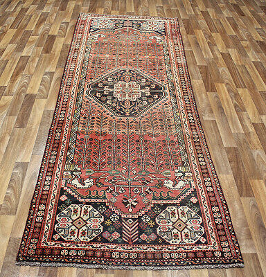 Antique Persian Shiraz Qashqai Tribal Runner 285 X 100 Cm