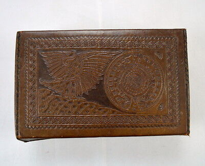 Vtg 50s Distressed Hand Tooled Brown Leather Wrapped Jewelry Stash Box Mexico