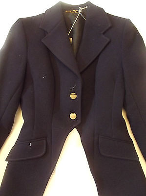 Reduced - Bnwt Langstone Navy Wool Maids Cutaway Showing Hunting Jacket Size 32