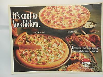 """Pizza Hut Placemat """" It's Cool To Be Chicken."""" Vintage 1996 Flipper Game On Back"""
