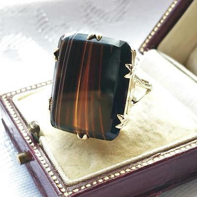 Vintage 9ct Banded Agate Chunky LARGE GOLD Ring 1970's  - Size M - 5.2 grams