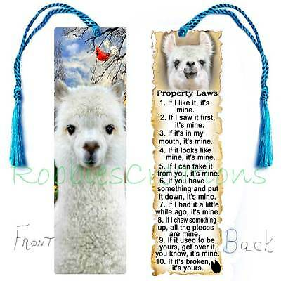 ALPACA Llama BOOKMARK LARGE Tassel White Book Mark Fun Animal Rules ART figurine