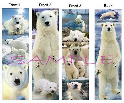 3-POLAR BEARS BOOKMARK Bear Cubs Alaska Book Card Animal ART Figurine Ornament
