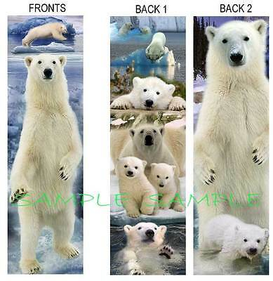 2 Set-POLAR BEAR BOOKMARK Cub Alaska Arctic Snow Ice Book Mark ART Figurine CARD