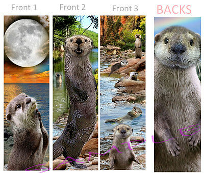 3 Cute-OTTER BOOKMARKS Animal Art Book Mark Water Weasel Card Figurine Ornament