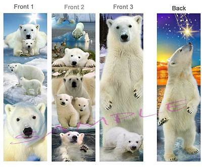 3set-POLAR BEAR BOOKMARK Cub Alaska Book Mark Card Animal ART Figurine Ornament