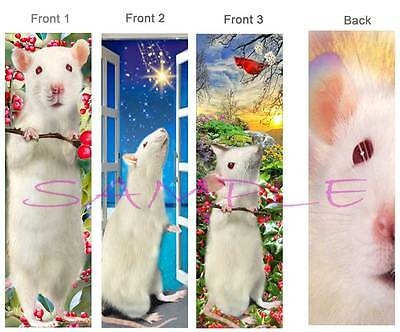 3 Set - White RAT BOOKMARK Pet ART Book Mark Card Figurine Ornament-NOT Toy/Cage