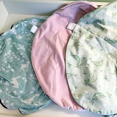 Boppy Pillow Covers Lot of 3 Slipcovers for Baby Girls, EXCELLENT! Pink, Green