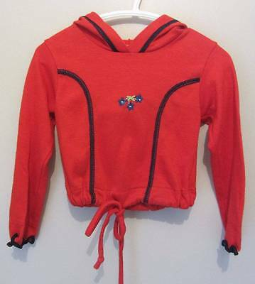 childrens vintage red hoodie 18 months red flowers little red riding hood 60's