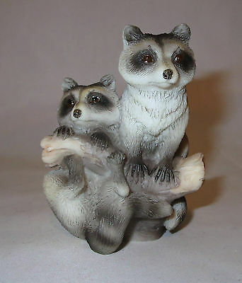 Raccoons Tree Branch Figurine Wild Animals Woods Poly Stone Sculpture New in Box
