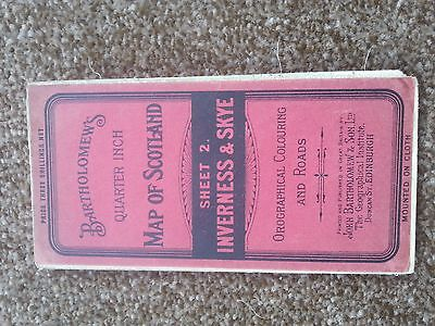 Antique Bartholomew Map - Inverness and Skye - Priced at Three Shillings