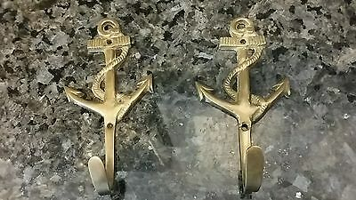 Pair Vintage Brass Hooks, Ship's Anchor