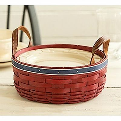 Longaberger Darning Basket RED w/Silver Glitter & Blue Trim NEW Ready to Ship