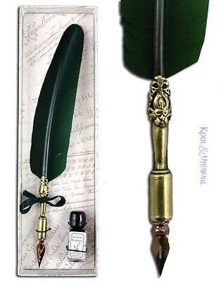 Small FOREST GREEN Italian Feather QUILL Pen and Ink Set