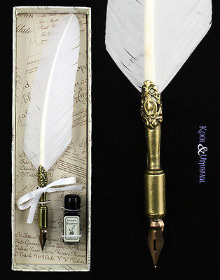 Small WHITE Italian Feather QUILL Pen and Ink Set