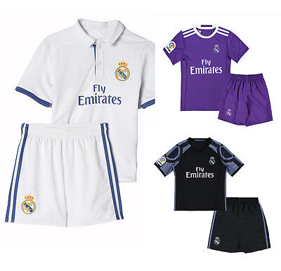 Children's Real Madrid 2016/17 Soccer Jersey Shorts Football Kids Clothes Set
