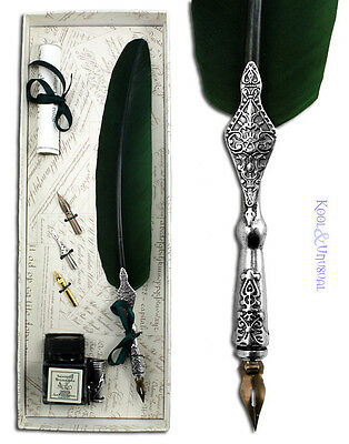 Deluxe FOREST GREEN Italian Feather QUILL Pen and Ink Holder Set with Nibs