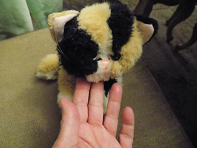 """7"""" Vtg Tyco Kitty Kitty Baby Kitten 1992 calico cat tri colored plush purrs   81"""