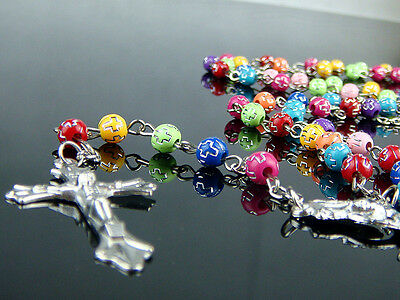 Rainbow Beads & Silver Chain Religious Rosary Necklace With Silver Metal Cross