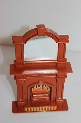 Vintage Little Tikes Doll House Living Room Furniture Brown Fire Place Accessory