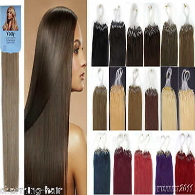 """Ombre Dip Dye 16""""/24"""" Loop Micro Ring Beads Tip Remy Human Hair Extensions 100S"""