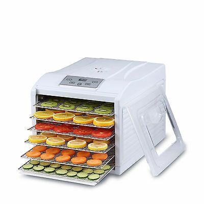 BioChef Electric 6 Tray Food Dehydrator with Thermostat Control - White