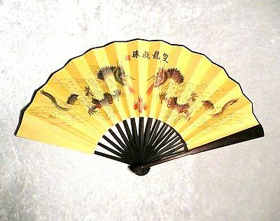 """Asian Chinese Bamboo DOUBLE DRAGON with BALL LARGE WALL DECOR 13"""" FOLDING FAN"""