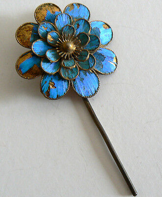 Qing Dynasty Kingfisher feather Hair Pin Antique VINTAGE Chinese Tian-tsui  點翠