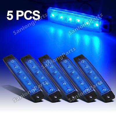 """5pcs 3.8"""" Blue Side Marker Lights Truck Lorry Bus Trailer Assembly 6 Diodes"""