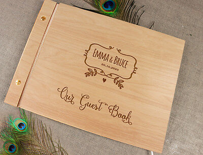 Wooden Wedding Guest Book / Photo Album Rustic with Laser Engraved Names